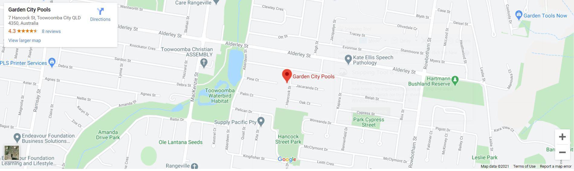 Garden City Pools Map Toowoomba